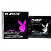 Playboy Strawberry Lubrificati Preservativi Aroma Fragola 3 Pezzi