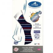 Sauber Gambaletto Uomo 70 Denari Fantasia Blu a Righe Bianche Bordeaux Denim Promo